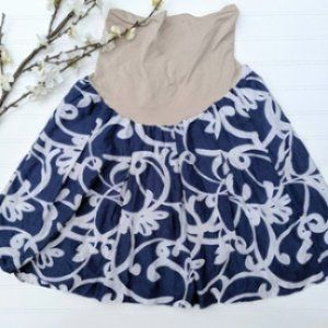A Pea in the Pod Blue/White Cotton Full Skirt